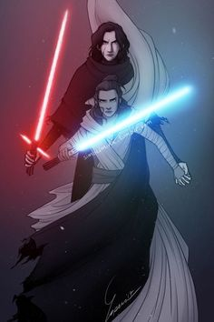 Rey and Kylo Ren fan art