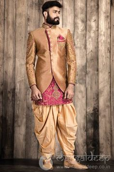 Buy Mangaldeep Golden Silk Embroidered Indo Western Sherwani online in India at best price. p Golden coloured Silk fabric kurta is embellished with latest work enhanced with fancy collar and f Sherwani For Men Wedding, Wedding Dresses Men Indian, Groom Wedding Dress, Sherwani Groom, Mens Sherwani, Wedding Men, Wedding Suits, Mens Indian Wear, Indian Groom Wear