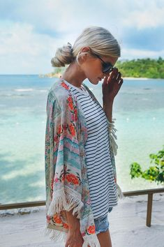 Stripes Pattern Oversized Shirt and Lovely Printed Cover Up Look