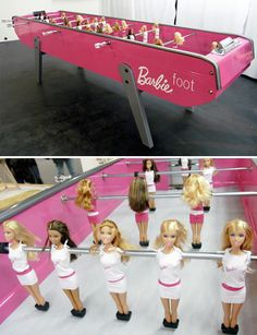 Barbie foosball! What?! I need a girly house with this in it!!!!