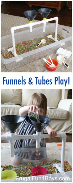 Sensory Play with Funnels, Tubes, and Colored Beans - Great for fine motor skill development. Preschoolers will love this fun sensory play station! by jewellInformations About Sensory Play with Funnels, Tubes, and Colored Beans PinYou can easily use Motor Activities, Infant Activities, Preschool Activities, Children Activities, Preschool Learning, Young Toddler Activities, Reggio Emilia Preschool, Reggio Emilia Classroom, Toddler Learning