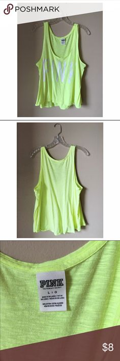 VICTORIA'S SECRET PINK - Neon Tank 🚫 TRADES. 🚫 PAYPAL. Brand is Victoria's Secret Pink. Lightweight neon yellow tank- perfect for running errands, working out, or when you're on the go. Worn a few times, gently used condition. Selling because I haven't worn it in quite some time. Please be considerate when making an offer. Poshmark takes 20% on each sale and items in my closet are priced fairly. Bundle for an additional discount and to save on shipping! PINK Victoria's Secret Tops Tank…