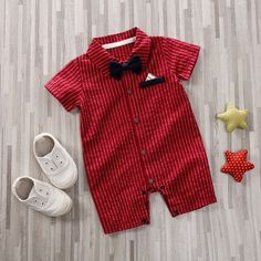 Daily Deals For Moms-- Baby Gentleman Bow Tie Decor Striped Bodysuit Baby Boy Suit, Baby Boy Dress, Cute Baby Boy, Baby Outfits Newborn, Baby Boy Newborn, Baby Boy Outfits, Kids Outfits, Baby Baby, Baby Girls