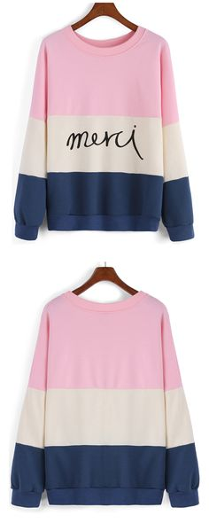 4a28d874b52b Sweatshirt has been a must-have for fashion dressers .Letter print types  are also the first choice for them. This color-block one is in bright color  and ...