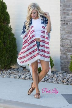 his adorable poncho is perfect for watching fireworks on the Fourth of July - the lightweight fabric is well suited for breezy summer nights! This southwestern inspired twist on the classic American Flag pattern will stand out at your family get-together.