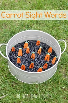 Dig for word carrots with this gardening sensory tub sight words activity! A playful way to practise literacy skills and learn new sight words. Eyfs Activities, Sight Word Activities, Easter Activities, Activities For Kids, Preschool Ideas, Learning Activities, Teaching Ideas, Farm Theme, Garden Theme