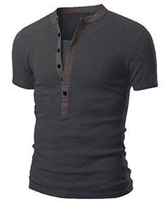 Stand Collar Splicing Design Short Sleeve Men's T-Shirt