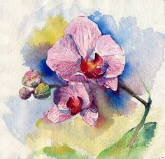 "Watercolor flower painting print  - ""Orchid flower"", printed on watercolor paper"