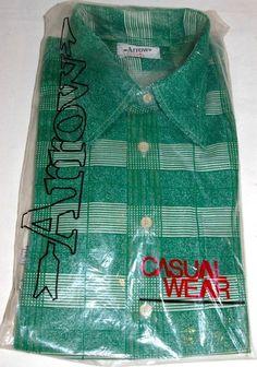 Vintage Mens Arrow Green & White Plaid Casual Wear Disco Dress Shirt XL 1970s NEW!