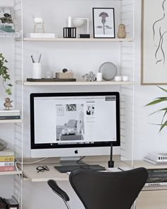 Some green in my office | www.my-full-house.com | Scandinavian Style home office workspace