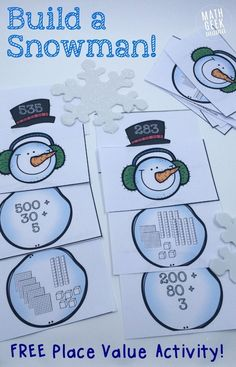 This fun and simple to use place value activity is perfect for a snowy day! Help your kids increase their understanding of expanded form and large numbers with these adorable snowmen. Just print and play!
