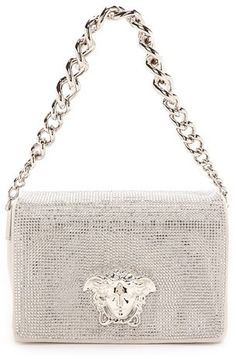 Versace Swarovski Crystal Clutch w Chain Tote Handbags, Purses And Handbags, Versace Bag, Versace Purses, Black Leather Bags, Luxury Handbags, My Bags, Evening Bags, Handbag Accessories