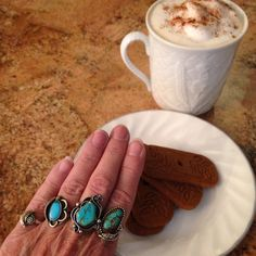 Boho southwest ring party...frothy cinnamon mocha java and vegan cookies...yummy!