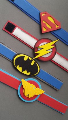 superhero bracelets,superhero,wrist bands,superhero party favour,set - Eye Makeup tips Superhero Party Favors, Batman Party, Superhero Birthday Party, Boy Birthday, Birthday Parties, Avenger Party, Foam Crafts, Craft Stick Crafts, Craft Sticks