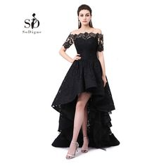 [Click image to buy!] SoDigne High Low Prom Dresses Free Shipping Off the Shoulder Graduation Gown Lace Short Front Long Back Evening Dress for Party *~* Shop 4 Xmas n 2018. Just click the VISIT button to view the details on  AliExpress.com. #HighNeckLaceWeddingGowns