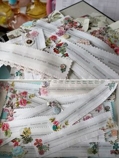 Simply beautiful fabric keepsake bookmarks!  Some use hankies & napkins - lovely details & inspiration