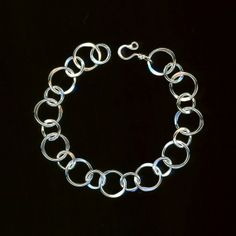 Bold Heavy Circle Bracelet Thick Links Sterling Chain Large Circles Hammered Bracelet Eco Friendly Recycled Silver Wire Jewelry