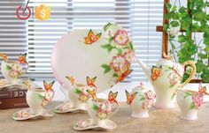 Porcelain 16pcs butterfly flowers Coffee tea set for home, View coffee tea set, YOU LAI FU Product Details from Shenzhen Youlaifu Household Company Limted on Alibaba.com