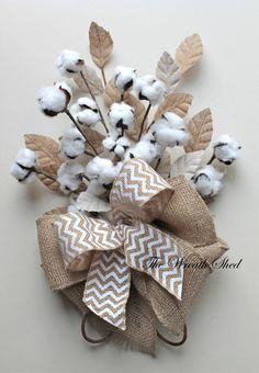Natural Cotton Bolls, Cotton Anniversary Bouquet, 2nd Anniversary Gift, Cotton Arrangement, Bridal Bouquet, Wedding Decor, Burlap Leaves