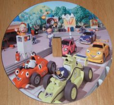ROARY THE RACING CAR Light Switch Cover 5 Inch Round (12.5 cms) Switch Plate Switchplate by Character Creations. $12.00. Large 5 inches (12.5 cms) Lightswitch Cover. Beautifully finishes off any room. NOT a Sticker.  Image is heat sealed into the switchplate, therefore is completely washable.. Roar The Racing Car Design. Hardboard with Beautiful Glossy Finish. This is a fantastic addition to any bedroom or playroom and is made from hardboard, with a glossy front.  This item is...