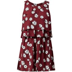 Burgundy Daisy Print Double Sleeveless Playsuit (€15) ❤ liked on Polyvore featuring jumpsuits, rompers, red romper, red rompers, print romper, patterned romper and sleeveless rompers
