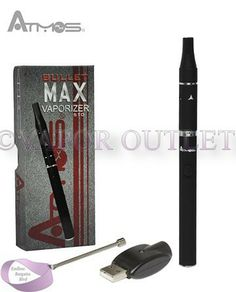 Vaporizer Outlet - Atmos Bullet Max Kit Vaporizer, $34.99 (http://www.endlessbargainsblvd.com/atmos-bullet-max-kit-vaporizer/)Atmos Bullet Max Kit Vaporizer Compatible With Blends, Waxes New to the Bullet family, we bring you the Bullet Max! Its wickless ceramic heating chamber is made perfectly for dry herbs and waxy oils, dispensing rich flavors when vaping. The advanced Bullet Max cartridge provides great performance and discreetness.
