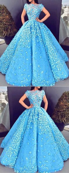 A-Line Bateau Short Sleeves Blue Satin Beaded Prom Dress with Appliques, modest blue beaded prom dresses, glamorous evening gowns with sleeves #partydress #ballgown
