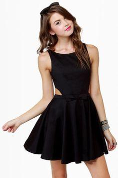 Retro-Inspired Black Dress - Open Back Dress - $47.00