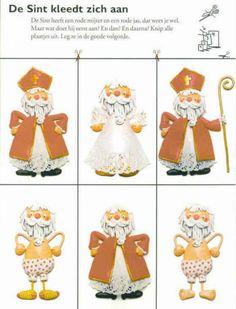 """Sint Nicolaas Werkblad; Sinterklaas is net wakker geworden en gaat zich aankleden. Maar Oh, Oh...hij is een beetje """"verstrooid""""... Weet jij welke kledingstukken hij eerst aan moet trekken? Knip de """"Sinterklazen"""" uit en leg ze in juiste volgorde. Plak ze nu netjes vast. Nu is de Goede Sint klaar om aan het werk te gaan!"""