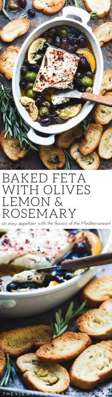 Baked Feta Cheese with Olives, Lemon and Rosemary