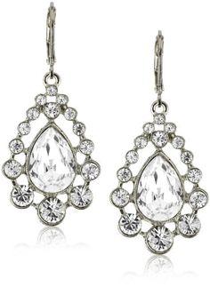 Nina Bridal Provence Silver Teardrop Swarovski Crystal Drop   $75