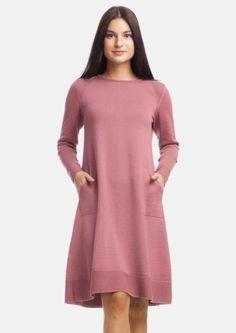 d7dfbb2d34a2916 Розовое платье-трапеция из тонкой шерсти, круглая горловина, длиный рукав,  длина –