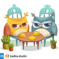 #Repost @kadka.studio ・・・ We have created a new account for our illustrators team KADKA. Follow us guys! Dissatisfied owls )) #illustration #kadka #art #owl #tea #plant #childrenbook