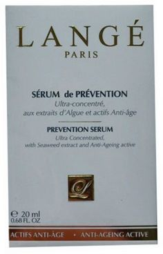 Lange Paris Prevention Serum 20 ml / .68 fl oz by Lange Paris. $25.00. Restructures and Regenerates, for a lasting hydration. Promotes elasticity and firmness for a youthful complexion. Protects against environmental aggressors. Ultra Concentrated with Seaweed extract and Anti-Ageing Active. Lange Prevention Serum is a powerful anti-ageing treatment & an integral part in maintaining the youthful appearance of the skin.  Specially formulated with moisturizing & anti-oxidizing act...