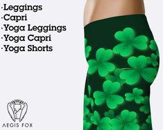 9a09327729f524 3D green clover leggings for St Patrick's day, St Patrick's leggings, clover  leggings, four leaf clovers, shamrock leggings, irish leggings