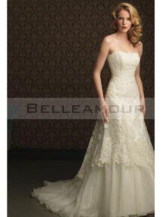 de mariée Blanche Chic Longue Tulle Appliques Dos Nu  robe de mariee ...