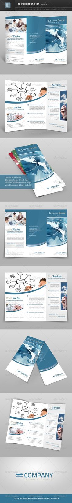 Trifold Brochure | Volume 3 #GraphicRiver Trifold Brochure | Volume 3 Clean and modern trifold brochure that comes in 3 color variations. Stylish layouts were carefully constructed in photoshop with well organized layer sets. Vector logo is included as well as vector wave graphic. Masks are auto applied and everything is very easy to edit. These templates are perfectly suited for any business wanting a clean and modern look. Features - TriFold Brochure with 3 different color schemes - Fully…