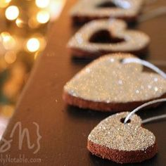 Add cinnamon and glitter to salt dough for spicy smelling Christmas decorations.
