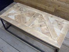 Salontafel oud steigerhout mozaïek met stalen buisframe (100 60 43) 20 mrt ong.