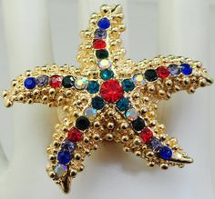 Multicolor Rhinestone Gold Starfish/Statement by victoriascharms