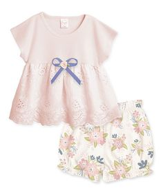 Loving this Blush Bow Eyelet Tunic & Spring Blossoms Bloomers - Infant on #zulily! #zulilyfinds