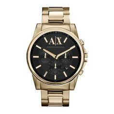 083215a46a1 Relógio Armani Exchange Mens Gold Chronograph Bracelet Wat  Relogio   ArmaniExchange Oversized Watches