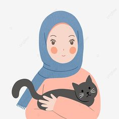 Cartoon Girl Images, Girl Cartoon, Cartoon Art, Illustration Mignonne, Cute Cat Illustration, Art Mignon, Islamic Cartoon, Anime Muslim, Hijab Cartoon