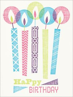 Five Patterned Candles Birthday Card