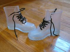 See through transparent clear jelly lace up combat rain boots Awesome Shoes, Kinds Of Shoes, Cool Boots, See Through, Girls Best Friend, Shoe Game, Jelly, Rain Boots, Combat Boots