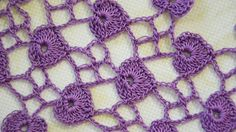 Узор с листочками (сердечками). How to crochet  Hearts Stitch