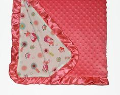Fox and owls ruffled baby blanket with dotted minky coral, woodland nursery theme with coral minky, baby girl gift, baby shower gift