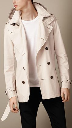 Burberry Brit Pale Stone Cotton Poplin Trench Coat - A showerproof trench coat made from lightweight cotton poplin.  A Kensington modern fit, the trench coat is tailored to the body with slim set-in sleeves.  Discover the men's outerwear collection at Burberry.com