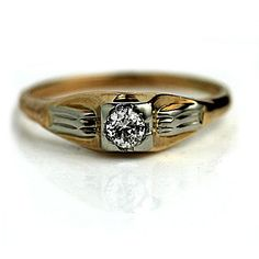 Two Tone Antique Engagement Ring European Cut Vintage Diamond Rings, Diamond Solitaire Rings, Vintage Rings, Vintage Jewelry, Diamond Jewelry, Antique Engagement Rings, Diamond Engagement Rings, European Cut Diamonds, Perfect Engagement Ring