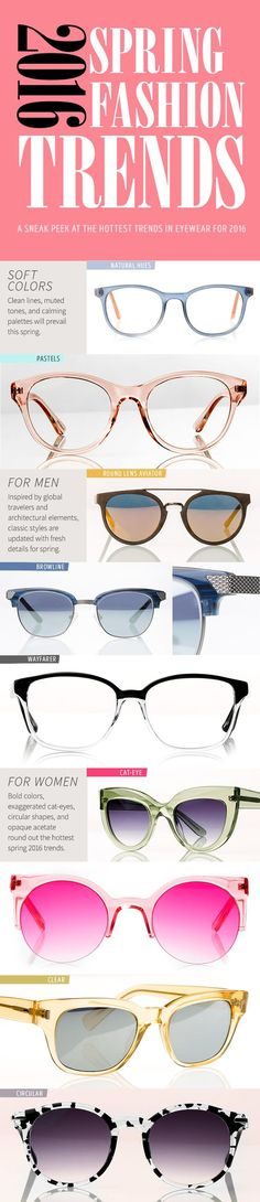 The must-know 2016 Spring eyewear trends are here! Explore the Zenni Spring Collection and find stylish eyewear for men and women. Click on the pin to see more bold glasses like these.: